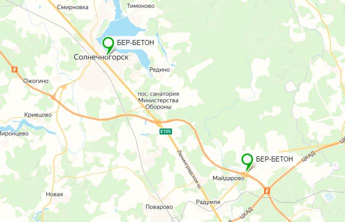 бетон на карте